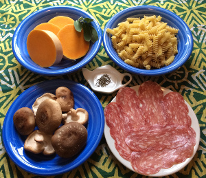 Fusilli_zucca_funghi_salame_recipe_taste_with_gusto_ingredients