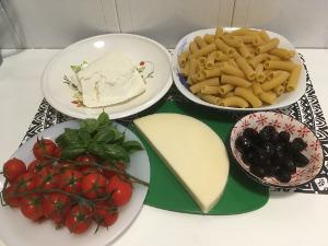 pasta_salad with_ricotta_cheese,_cherry_tomatoes_olives_ingredients_